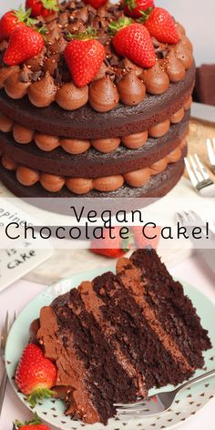 A Delicious, Fudgey, and Insane Three-Layer Vegan Chocolate Cake! A Delicious, Fudgey, and Insane Three-Layer Vegan Chocolate Cake! Mini Patisserie, Patisserie Vegan, Janes Patisserie, Logo Patisserie, Boutique Patisserie, Vegan Dessert Recipes, Baking Recipes, Cake Recipes, Healthy Recipes