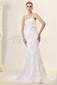 Awesome Mermaid/Trumpet Strapless Sweep Train Lace Dasha's Wedding Dress