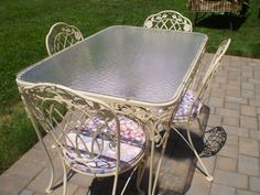 vintage 5 piece patio set wrought iron round glass top white table u0026 4 chairs vintage patio patios and wrought iron