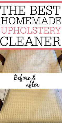 Homemade Upholstery Cleaner Get the stains out of your furniture with this simple DIY Upholstery Cleaner. It only takes two ingredients and is great at getting out grass stains, dirt, and food stains. Deep Cleaning Tips, House Cleaning Tips, Diy Cleaning Products, Cleaning Solutions, Spring Cleaning, Cleaning Hacks, Cleaning Recipes, Diy Hacks, Car Cleaning