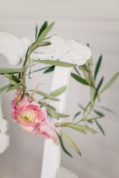 Romantic Blush Ranunculus and Astilbe Flower Crown