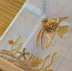 The best Tambour embroidery Zardozi Embroidery, Tambour Embroidery, Bead Embroidery Patterns, Hand Work Embroidery, Bead Embroidery Jewelry, Gold Embroidery, Hand Embroidery Designs, Tambour Beading, Bead Sewing