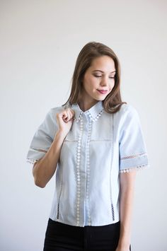 The Bossy Button Up in Powder Blue