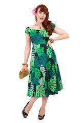 Collectif Dolores Tahiti Palm Print Doll Dress