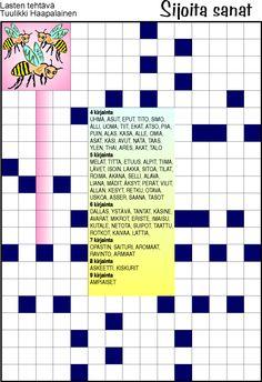 Sijoita sanat Crossword, Puzzle, Crossword Puzzles, Puzzles, Puzzle Games, Riddles