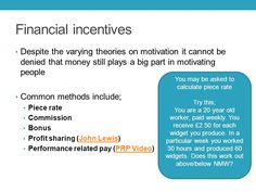 financial methods of motivation are the Financial methods of motivation how many payment methods are used by organisations in this session you will learn about financial methods that organisations use to.