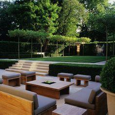 Landform consultants - holland park garden garden design, garden seating, s Sunken Garden, Terrace Garden, Sunken Patio, Back Gardens, Outdoor Gardens, Outdoor Trees, Outdoor Patios, Small Gardens, Backyard Patio