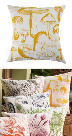 A delicate pattern of mushroom silhouettes makes this Thinking Cap Throw Pillow a cheeky addition to nature-inspired room décor. You'll fall for the handsome mustard-colored shapes over soft white, off...  Find the Thinking Cap Throw Pillow, as seen in the #UrbanForager Collection at http://dotandbo.com/collections/urbanforager?utm_source=pinterest&utm_medium=organic&db_sku=114442