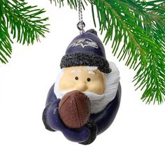 Baltimore Ravens Diving Santa Ornament
