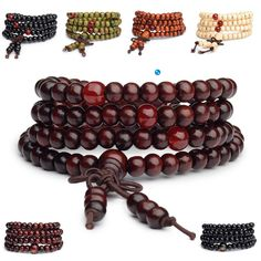 Natural Sandalwood Buddhist Buddha Wood Prayer Bead Mala Bracelets for Men. #jewelry #bracelet #menfashion