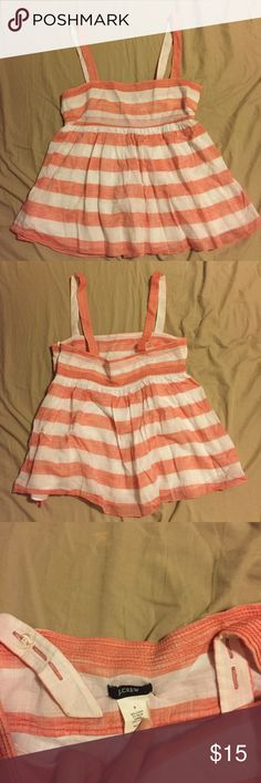 J Crew Top Really cute summer top. Tangerine, pinkish stripes. Looks more pink in real life! The straps are adjustable with buttons (not visible from the outside). Side zip. Size 6- true to size. Worn twice. J. Crew Tops
