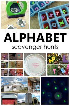 Alphabet Scavenger Hunts for Kids Preschool Reading Activities, Alphabet Activities, Motor Activities, Toddler Preschool, Preschool Activities, Teaching Abcs, Teaching The Alphabet, Early Learning, Fun Learning