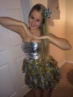 Kathleen's amazing ABC party outfit. All it took was duct tape, tinsel, and patience. So proud of how it turned out!