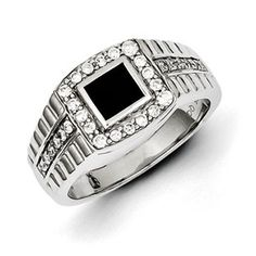 Men's Black Onyx 1/2 Carat Diamond Ring In Sterling Silver Jewelry Available Exclusively at Gemologica.com