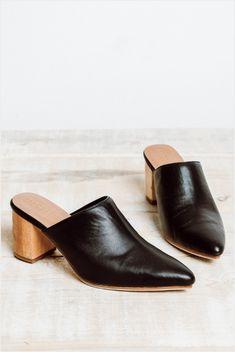 0b4f734e78ea James Smith Le Point Mule Black Block Heel Mules Wood Block Heel Minimal  Style Low Heel