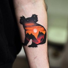 Koala inferno on the left forearm. Tattoo artist: David Côté