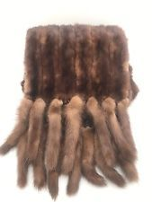 "Monstrous Vintage Mink Scarf 86"" Long 14 Mink Tail Fringe This is Truly Unique"