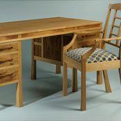 Nick Thwaites furniture - Desk in oak and elm Bespoke Furniture, Fine Furniture, Furniture Makers, Top Drawer, Drawer Handles, Jewellery Boxes, Wood Crafts, Corner Desk, Dining Bench