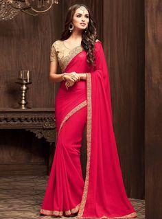 Dark Pink Georgette Festival Wear Saree 101071
