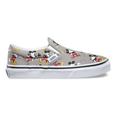Vans and Disney come together for a magical collaboration that reimagines some of the most beloved and iconic animated characters. Dedicated to those who are young at heart, the Mickey Disney Slip-On combines the iconic Vans low profile slip-on with a custom allover print of Mickey Mouse. The Disney Slip-On also features sturdy canvas uppers with elastic side accents, padded collar and heel counters, and signature waffle rubber outsoles.