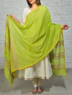 Lime Green Yellow Cotton Khadi  Dupatta