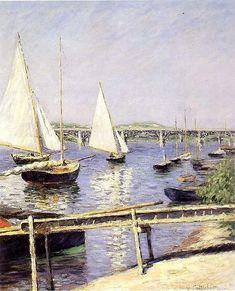 Gustave Caillebotte - Sailboats In Argenteuil Jean Renoir, Pierre Auguste Renoir, Large Prints, Fine Art Prints, Carnegie Museum Of Art, Oil On Canvas, Canvas Prints, Urban Painting, National Gallery