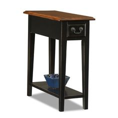 ModHaus Living Country Style Narrow Nightstand Rectangle Wooden Black Chair Side Table with Storage Drawer - Includes Pen Narrow Table, Decor, Table Style, Table, Furnishings, End Tables, Chair Side Table, Furniture, Small End Tables