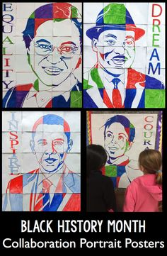 Black History Month collaborative portrait poster collection. This is a memorable and inclusive art integration lesson for your students that your entire school community will be moved by. This set includes posters for Rosa Parks, Martin Luther King Jr., President Obama, Ruby Bridges, and Poet Rita Dove. These collaborative posters are a fun, easy and engaging way to integrate art activities into your classroom social studies.
