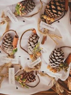 Pine cone table markers. Why didn't we think of that?