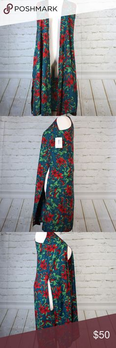 """💥CCO💥 LuLaRoe Joy Teal Floral Chiffon Duster ABOUT ◐ Women's or Juniors size Small. ◐ Be the star of your own one-woman show while attending an all-day music festival, or turn heads while spending a rainy evening at an art museum or bookstore. Features a fun and bright, eye-catching floral print throughout. ◐ Garment is NWT; perfect condition! ◐ Country of Manufacture: Vietnam.  MATERIALS ◐ 100% Polyester  MEASUREMENTS ◐ Shoulder to Shoulder: 15"""" ◐ Total Length: 42"""" LuLaRoe Jackets & Coats…"""