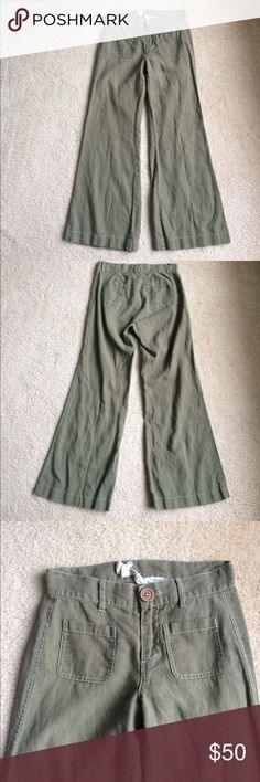 """Anthropologie Knitted Dove linen pants Knitted Dove pants • Anthropologie brand • 100% linen • moss green • wide legs • white stitching • front & back pockets • 27.5"""" long • Sz 2 • excellent condition • fast same/next day shipping • BUNDLE & BUY IT NOW!!! Anthropologie Pants Wide Leg"""
