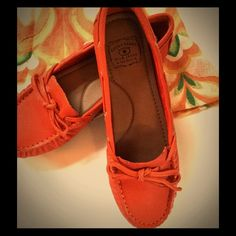 Lucky Brand Orange Leather Loafer Beautiful high quality leather.Rubber soul, reinforced back, arch support. Topsider styling! Lucky Brand Shoes Flats & Loafers