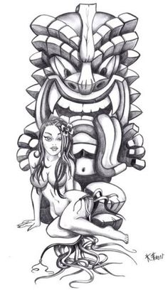 Gotta be in color though. Totem Tattoo, Tiki Tattoo, Hawaiianisches Tattoo, Tattoo Sketches, Tattoo Drawings, Art Sketches, Tattoo Sleeve Designs, Sleeve Tattoos, Tatouage Sublime