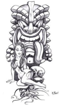 tiki tattoo | ... Reptilien Langue Dehors Fille Bikini de Ta'a Tiki Tattoo Marseille