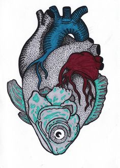 Men med en skildpadde i stedet! Animal Drawings, Art Drawings, Art Du Croquis, Ouvrages D'art, Art Et Illustration, Anatomy Art, Heart Art, Art Sketches, Art Inspo