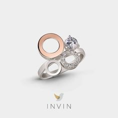 This statement-making ring combines the striking lines of Scandinavian design with the subtle elegance of Sweden's greatest city. Silver ring with parts in rose gold and cubic zirconia