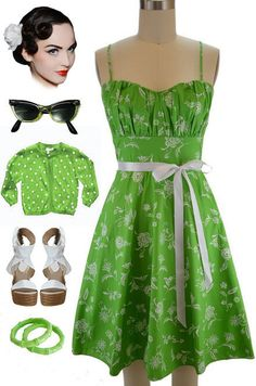 50s Style LIME Florals ROUCHED Bust Bombshell PINUP Sun Dress w/Ribbon SASH #PrivateManufacturer #Sundress #Casual