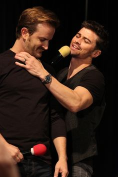 """Matt and Richard  #ChiCon2013   """"I'd come back and play Michael for no paycheck. Wanna know why? Jensen's lips."""" - Matt Cohen"""