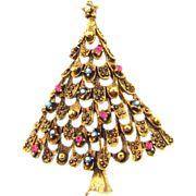 Signed Eisenberg Ice Christmas Tree Brooch
