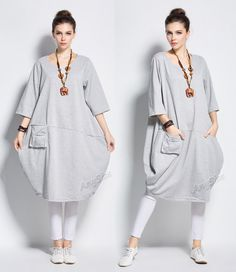 Anysize Lantern style cotton dress with deep heel pocket Winter Spring long dress plus size dress plus size clothing Y231