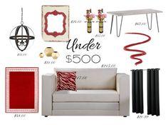 """Living Room Under 500"" by modern-glam-designs on Polyvore featuring interior, interiors, interior design, home, home decor, interior decorating, L'Oréal Paris, living room, livingroom and under500"