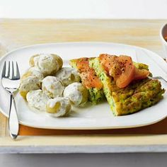 Krieltjes in kruidenroomsaus met courgette omelet