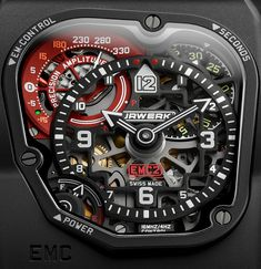 """Urwerk EMC TimeHunter X-Ray Watch - on aBlogtoWath: http://www.ablogtowatch.com/urwerk-emc-timehunter-x-ray-watch/ """"Featuring a fold-away winding crank on the side that you wind to charge a super capacitor, the Urwerk EMC TimeHunter allows you to monitor the watch's accuracy with a precision monitoring device as well as monitoring balance amplitude... but the new Urwerk EMC Time Hunter X-Ray is so named because of its skeletonized dial which affords a look inside its fascinating…"""