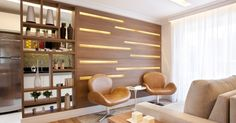 nicho assimetrico - Pesquisa Google Small Space Living, Small Spaces, Partition Design, Interior Design Elements, Minimal Home, Apartment Design, Small Apartments, Wood Design, Decoration