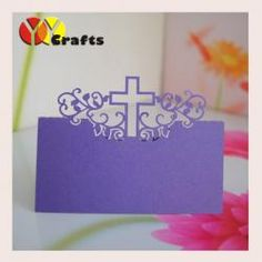 China Elegant purple laser cut place card , baptism place cards great cross design on sale
