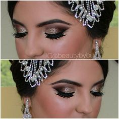 Eye makeup by bushra nazer Beautiful Eye Makeup, Beautiful Eyes, Eye Makeup Steps, Makeup Step By Step, Step By Step Instructions, Bridal Makeup, Beauty Makeup, Make Up, Earrings