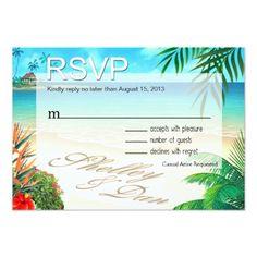 Hawaii Wedding Reception Shelley & Dan Exotic Beach RSVP ::custom:: Card