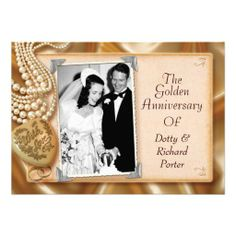 Vintage 50th Anniversary Party Invitations with Photo Customize this wedding Anniversary invitation with your wedding photo and text.  Can be easily customized for many special occasions and other celebrations -- 25th, 30th, 45th, 60th, 65th, 70th anniversary parties, birthday party, weddings, save the date, or any unique event. Ships within 24 hours.