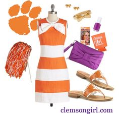 Clemson Girl: Clemson Gameday Look - Wrapped Up in a Bow Clemson Tigers, Orange And Purple, Football Fans, Football Season, Fall Winter Outfits, Casual Wear, Cute Outfits, School Spirit, Tailgating