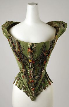 oh. my. gosh. bodice with metal lace + ribbonwork 1700s.